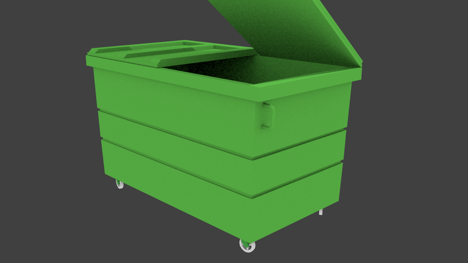 A green 3D low-poly model of a rubbish bin